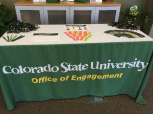 The welcome table at the student ice cream social send-off for new and transfer students entering CSU this fall at the Northeast Regional Engagement Center.