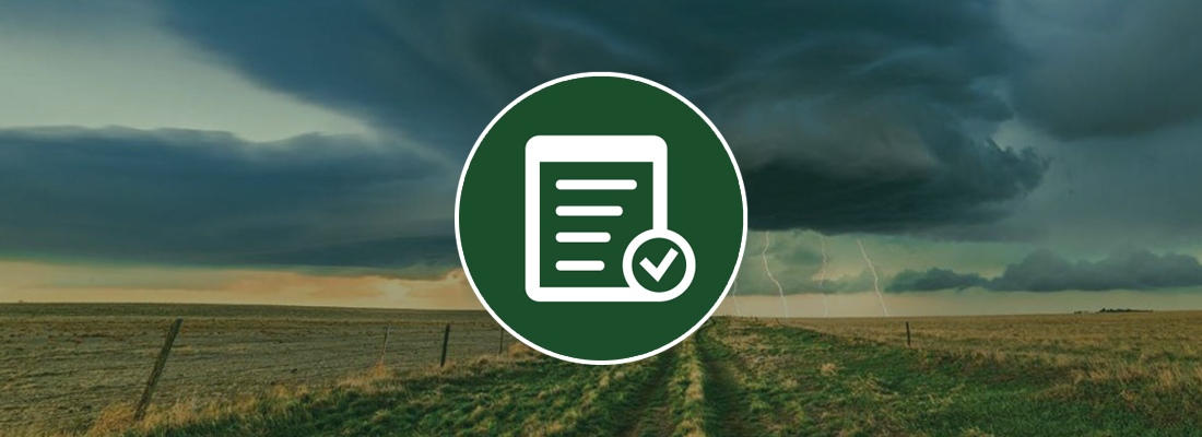 Field with thunder storm and checklist icon