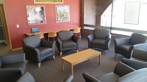 CSU Lobby with grey leather chairs